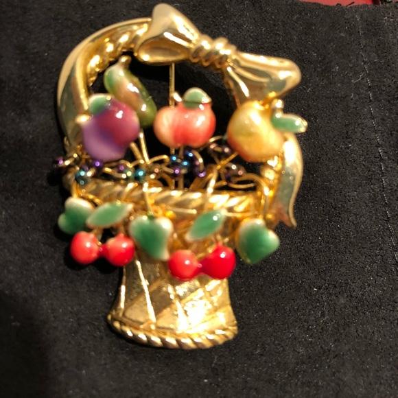 antique Victorian flower and fruit basket enamel silver brooch